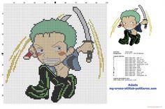 Roronoa Zoro One Piece Manga character Chibi free cross stitch pattern