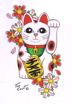 Maneki Neko, Lucky Cat with cherry blossoms done by The--Count at Deviant art.