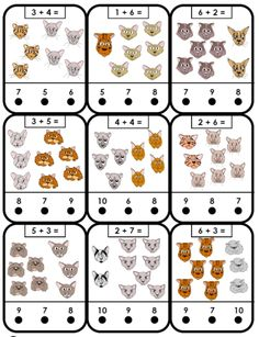 free printable adding cats addition kindergarten math game