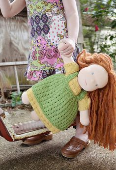 Free Knitting Pattern - Doll Clothes: Polly Flinders Doll Outfit