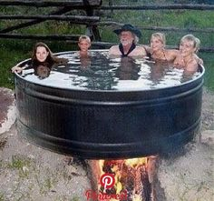 Discover thousands of images about Redneck hot tub. Outdoor Tub, Outdoor Baths, Outdoor Bathrooms, Outdoor Decor, Jacuzzi, Douche Camping, Piscina Diy, Stock Tank Pool, Stock Pools