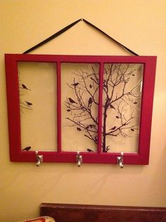 Old Windows Makeover: Old window – repurpose as art – repurpose as hanger – beautiful repurpose. Old Window Crafts, Old Window Projects, Antique Windows, Vintage Windows, Vintage Doors, Antique Doors, Window Art, Window Frames, Window Ideas