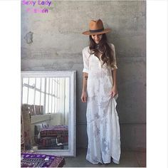 BOHO Slit Side Lace White Chiffon Maxi Dress Waistline: Natural Style: Bohemian Material: Polyester,Spandex Dresses Length: Floor-Length Neckline: Turn-down Collar Silhouette: Straight Sleeve Length: