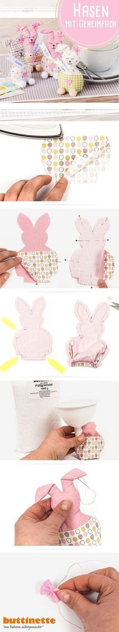 Easter bunnies as a table decoration, place card or money present! # Sew … - Diy and Crafts Mix Spring Decoration, Decoration Table, Diy Spring Wreath, Diy Wreath, Clothes Pin Wreath, Easter Traditions, Diy Invitations, Textiles, Balloon Decorations