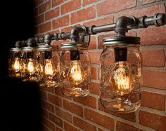 Mason Jar Light Fixture Industrial Light Light Rustic by TMGDZN