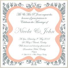 vintage grey peach wedding invite, £1.60, #weddinginvitation