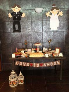 mesa de postres para despedida de solteros  / candy table for bridal shower