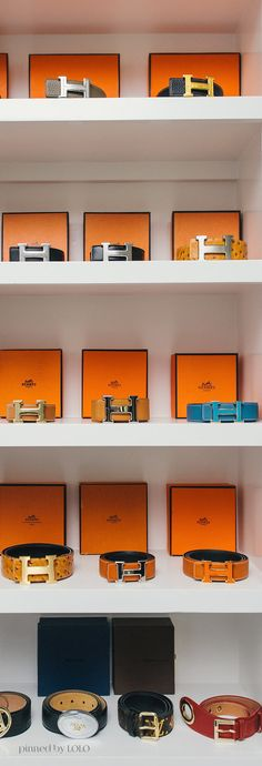 HERMÈS PARIS BELTS ~ Interchangeable reversible leather belts are available to wear with the H buckle