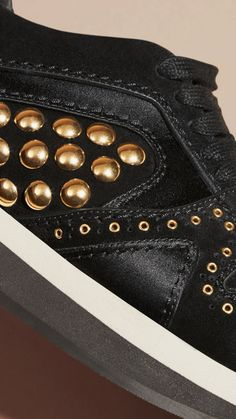 The Field Sneaker from Burberry in studded suede and satin is designed for city or safari.