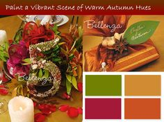 warm autumn hues; wine, burgundy, purple, red, orange, brown, gold, yellow, and a touch of green - but not that green, but vibrant yellow green, like leaves and golden grapes