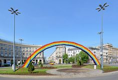 A 25-year-old man was arrested in Warsaw Sunday morning after setting fire to a rainbow arch built by Polish artist Julita Wojcik as a symbol of tolerance for the LGBTI community