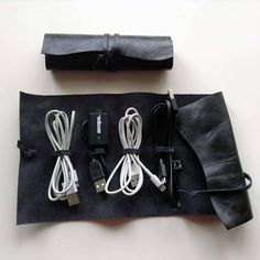 Your place to buy and sell all things handmade Soft Leather, Black Leather, Cord Holder, Cord Organization, Cable Organizer, Leather Accessories, Bud, Buy And Sell, Phone