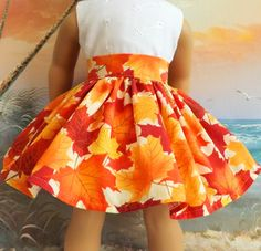 American Girl Doll Clothes Autumn Leaves Gold by sewgrandmacathy