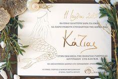 Mermaid design with Gold Foiled letterpress Baptism Invitations, Letterpress, Christening, Little Girls, Mermaid, Place Card Holders, Gold, Design, Toddler Girls