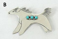 Authentic Native American Navajo Sterling Silver horse and turquoise horse  pin