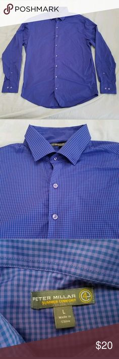 "Peter Millar Golf Dress Shirt Mens Sz L Purple Excellent Used Condition  Sz Large  Style - Summer Comfort Tech Valspar PGA Tour Stitching Measurements are taken laid flat:  Pit to pit - 21"" Shoulder to shoulder - 20"" Shoulder to cuff - 26""  Shirt comes from a smoke and pet free home. Shirts Dress Shirts"
