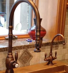 This Antique Copper Waterstone Faucet Is Truly Modern The Traditional Posi Lock Pull Down