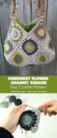 Sunburst Flower Granny Square Free Crochet PatternYou can find Granny square bag and more on our website. Bonnet Crochet, Crochet Headband Pattern, Crochet Flower Patterns, Crochet Beanie, Crochet Flowers, Knitting Patterns, Pattern Flower, Crochet Ideas, Hat Patterns