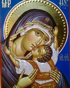 The Virgin of Tenderness. Religious Images, Religious Icons, Religious Art, Byzantine Icons, Byzantine Art, Church Icon, La Madone, Art Deco Artists, Religion