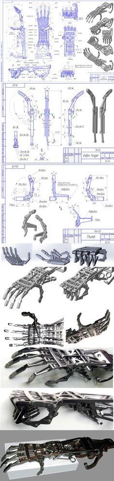 Robotic hand made own - Roboterhand Mechanical Design, Mechanical Engineering, Armor Concept, Concept Art, Cyberpunk, Arte Robot, Robot Arm, Robot Design, 3d Prints