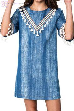 Blue Denim Tassel Dress