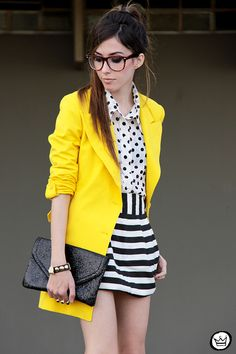 FashionCoolture - mix of patterns, yellow coat! <3