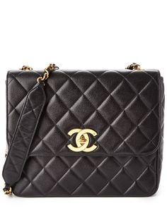 Chanel Black Quilted Caviar Leather Rectangle Flap Bag