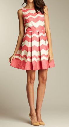 Coral Chevron Dress