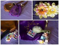 Rapunzel Birthday - Party Favors - Paint Set- Hair Accessories, Purple Drawstring Bag! Super cute!
