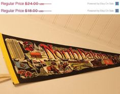 50% Off Summer Clearance Vintage North Dakota Pennant Flag Banner Souvenir Collectible