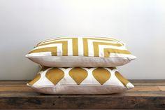 Handprinted lumbar pillow cover. Doha pattern in metallic gold & off-white organic cotton hemp 12x21 by melongings studio