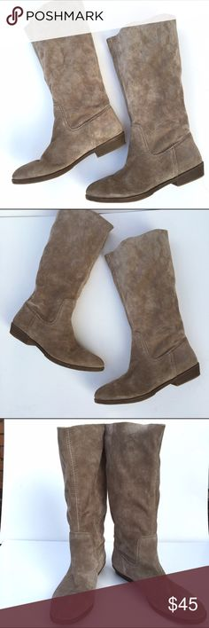 """Nine West """"American Vintage"""" Frollic Boots These are the perfect pull on mid-calf boot. They have the softest suede and are very comfortable. Heel is 1.25 inches. There is one small pen stain pictured in last photo Nine West Shoes"""