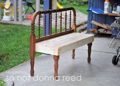 Pretty easy way to repurpose a headboard into a bench @Gail Kent (for that metal one by the shed)