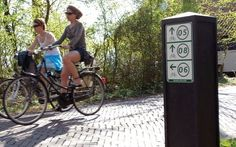 Signposts and road signs are available in cycle ways and roundabouts, and sometimes list alternative routes. Dutch Bicycle, Visit Holland, Van Gogh Museum, Water Management, Bike Path, Holiday Destinations, Windmill, Tourism, Cycling