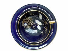Cup Saucer Plate Trio Cobalt Blue Gold Flowers by Passion4Europe