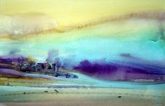 Watercolor art by Joe Cibere is located just north of Los Angeles. Various subjects include landscapes, cityscapes, seascapes, skys and flowers. Watercolor Sunset, Watercolor Landscape Paintings, Sky Painting, Abstract Watercolor, Abstract Landscape, Watercolor Beginner, Beautiful Paintings, Lovers Art, Watercolours