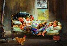 Dianne Dengel tarafından çizilmiş dilimizde Mutluluğun Resmi olarak bilinen Home Sweet Home isimli tablo.