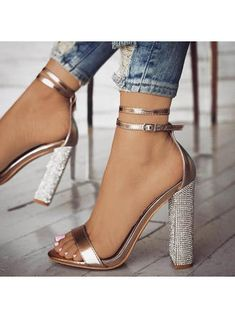Women's PU Stiletto Heel Sandals Pumps Peep Toe With Buckle shoes - Sandals - veryvoga Glitter Sandals, Glitter Slides, Gold Sandals, Rhinestone Heels, Prom Heels, Heels For Homecoming, Homecoming Dresses, Party Dresses, Wedding Dresses