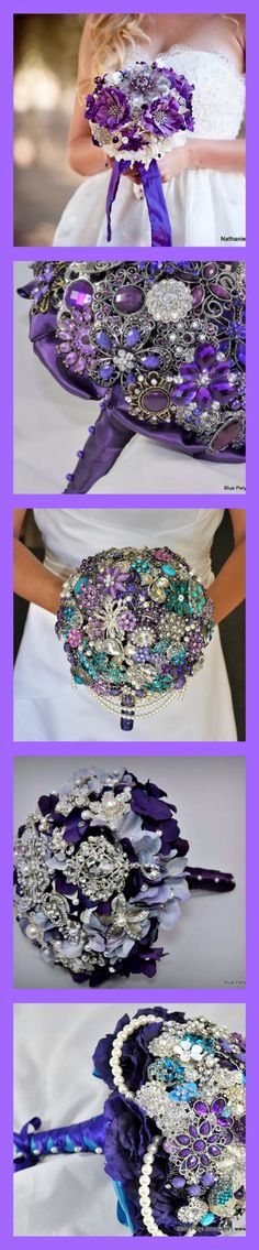 Puuuurrple Bouquets by Blue Petyl #purple #wedding #bouquet
