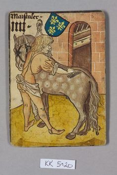 "Marstaler (Stable master), France, from ""Hofämterspiel"" for king Ladislaus the Posthumous Medieval Horse, Medieval Life, Medieval Art, Medieval Manuscript, Illuminated Manuscript, 15th Century Clothing, Kunsthistorisches Museum Wien, Work Horses, Book Of Hours"