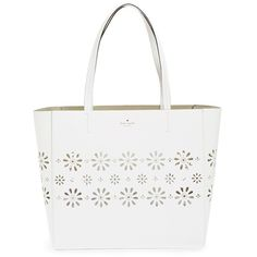kate spade new york 'faye drive hallie' daisy perforated leather tote ($328) ❤ liked on Polyvore featuring bags, handbags, tote bags, bright white, leather tote purse, kate spade tote, metallic leather tote, tote handbags and structured tote