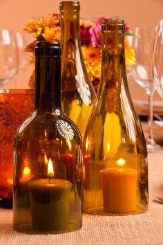 Wine bottle as hurricane vase...centerpiece idea