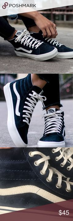 VANS NAVY SUEDE SK8-HI NAVY SUEDE VANS // WOMENS SZ 7 // MENS SIZE 5.5 // USED //ORIGINALLY PURCHASED AT J.CREW// SOME BLUE COLORING HAS RUBBED OF ON LACES AS SHOWN IN PICTURES // SCOTCHGUARD TREATED SUEDE WITHSTANDS ANY STAINS OR WATER DAMAGE Vans Shoes Sneakers