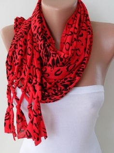 Red Leopard Scarf with Node Edge by SwedishShop on Etsy, $17.90