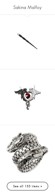 """""""Sakina Malfoy"""" by sara598d on Polyvore featuring harry potter, wands, hogwarts, accessories, weapons, fillers, jewelry, necklaces, goth jewelry and red jewelry"""