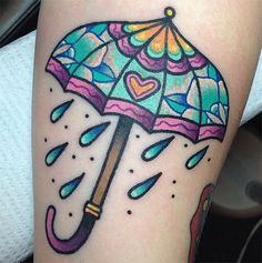 What does umbrella tattoo mean? We have umbrella tattoo ideas, designs, symbolism and we explain the meaning behind the tattoo. Girly Tattoos, 1000 Tattoos, Sun Tattoos, Body Art Tattoos, Small Tattoos, Kawaii Tattoos, Tattoo Sun, Herbst Tattoo, Umbrella Tattoo