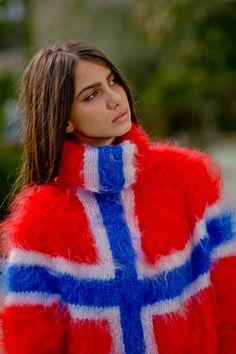 Tiffy Mohair Hand Knitted T neck Norwegian flag by TiffysMohair Fluffy Sweater, Mohair Sweater, Men Sweater, Turtleneck, Norwegian Flag, Sweaters For Women, Women's Sweaters, Red Pattern, Models
