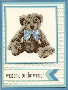 Ideas baby cards christening stampin up Baby Boy Cards, New Baby Cards, Baby Shower Cards, Bebe 1 An, Fun Baby Announcement, Stampin Up Karten, Welcome Card, Bear Card, Kids Birthday Cards