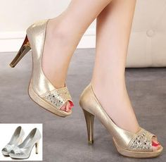Wholesale Bride Shoes - Buy Luxury Gold Shoes Sexy High Heel Peep Toe Pumps Wedding Bride Shoes Silver Rhinestone Prom Gown Dress Shoes Size 35 to 39, $31.1   DHgate