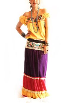 Mexican embroidered layered skirt~dress